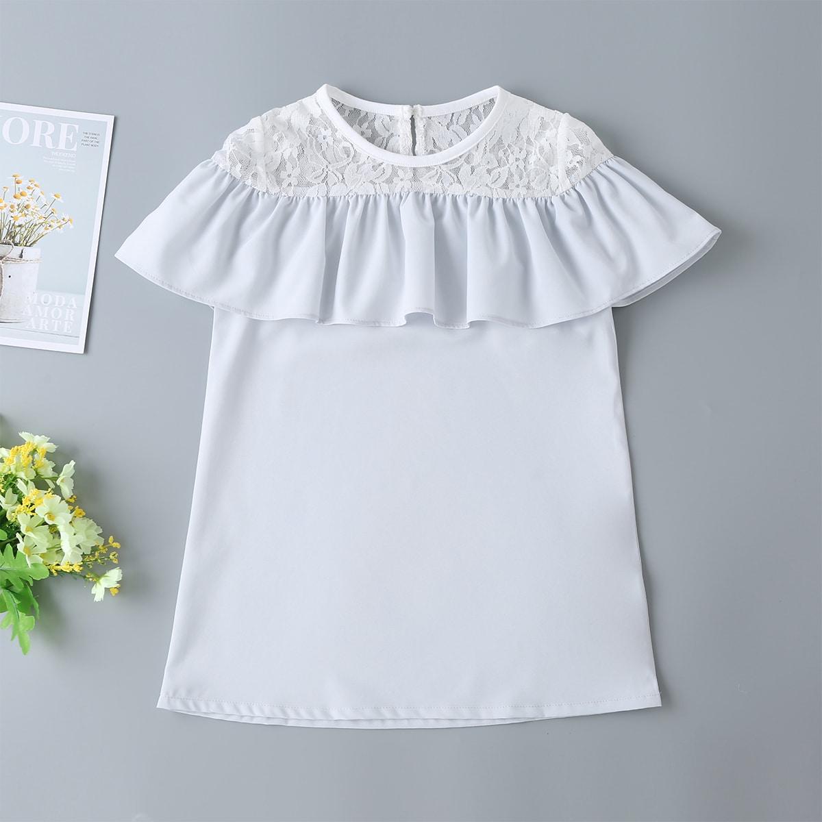 Платье-туника с оборками и кружевом для девочек от SHEIN