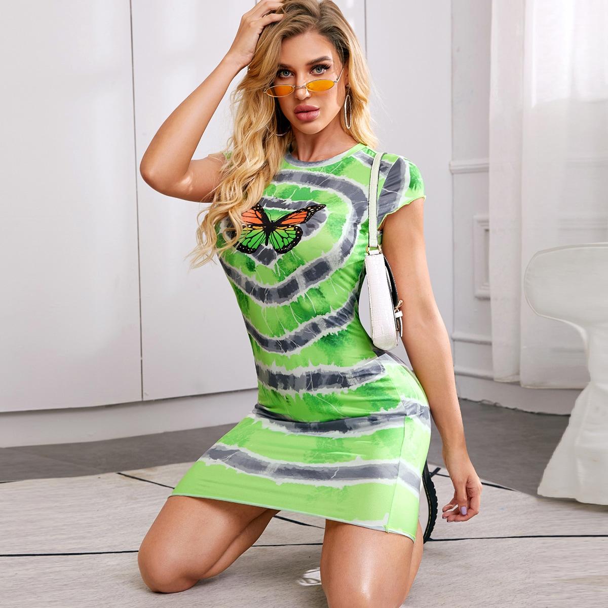 Разноцветное платье с принтом бабочки фото