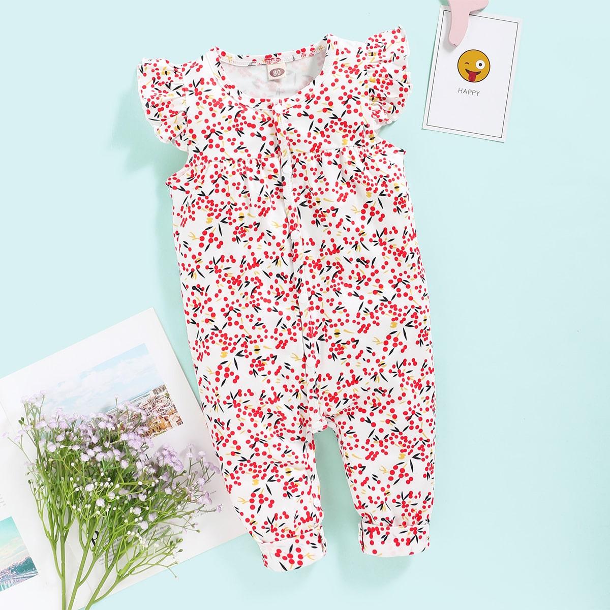 Комбинезон-рубашка с принтом растения для девочек от SHEIN