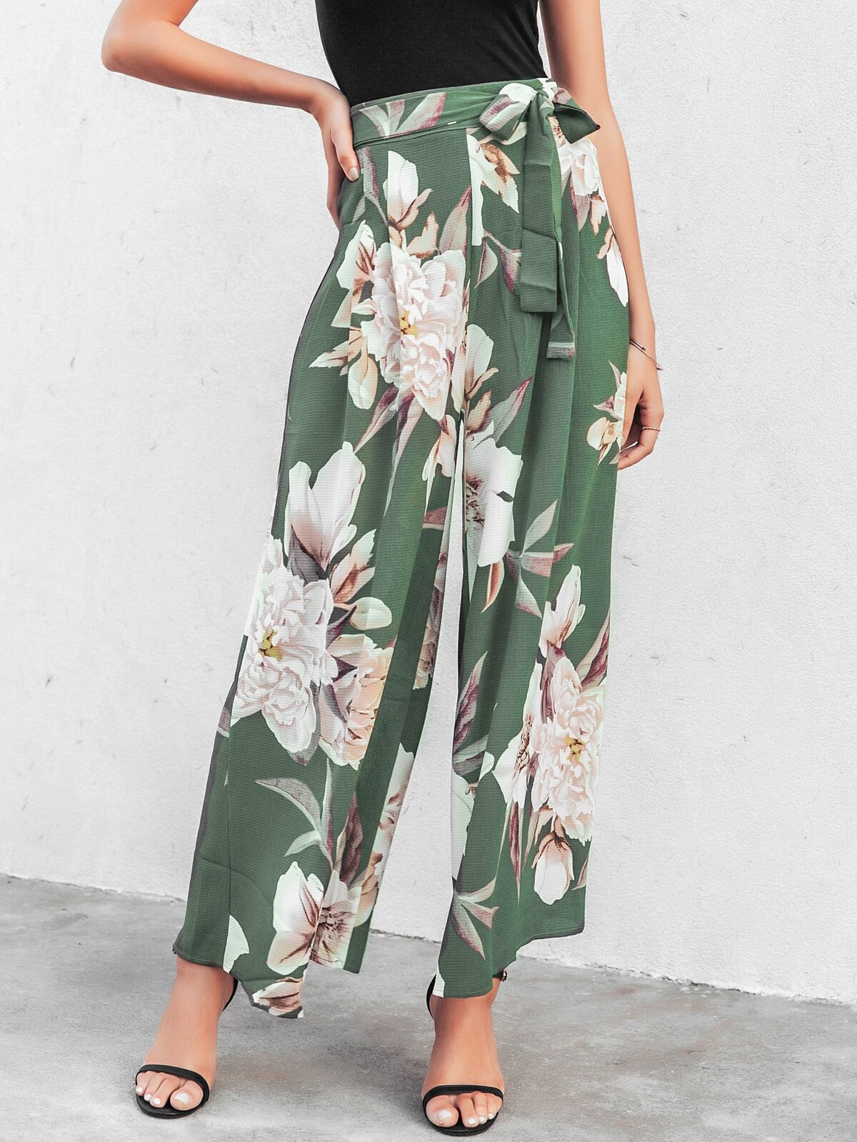 High Waist Belted Floral Wide Leg Pants