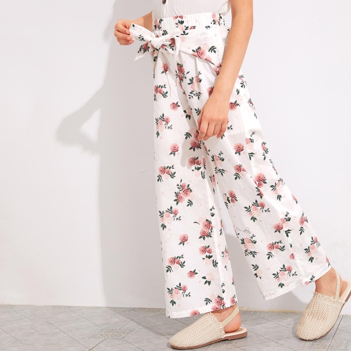 Цветочные широкие брюки с узлом для девочек от SHEIN