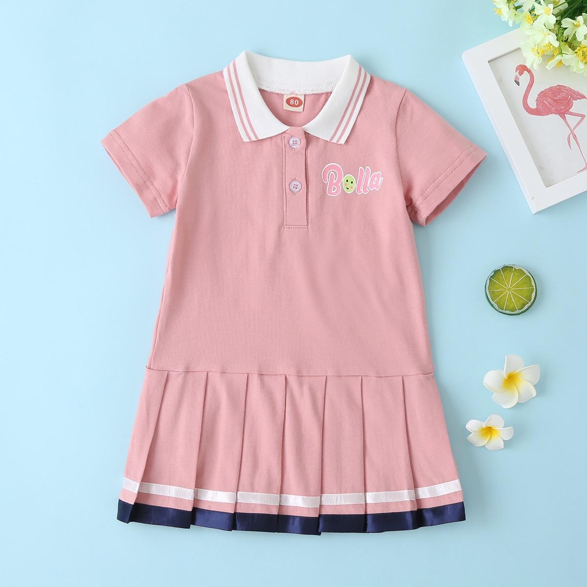 Плиссированное платье-поло с текстовым принтом для девочек от SHEIN