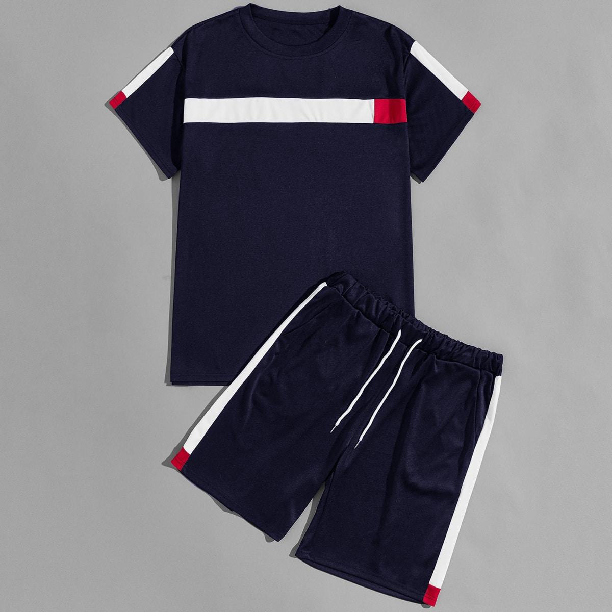 Мужская контрастная футболка и шорты на кулиске от SHEIN