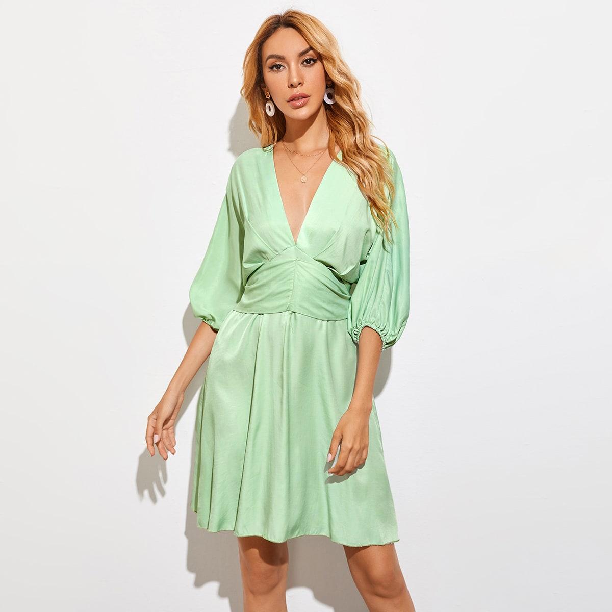 SHEIN / Tie Back Lantern Sleeve Empire Waist Dress