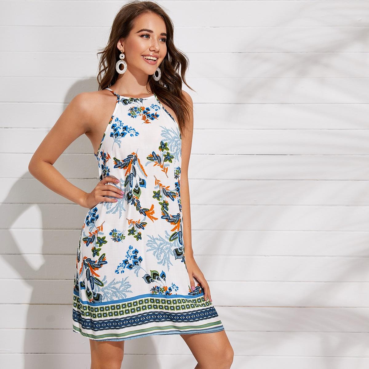 SHEIN / Kleid mit botanischem und Stamm Muster und Neckholder