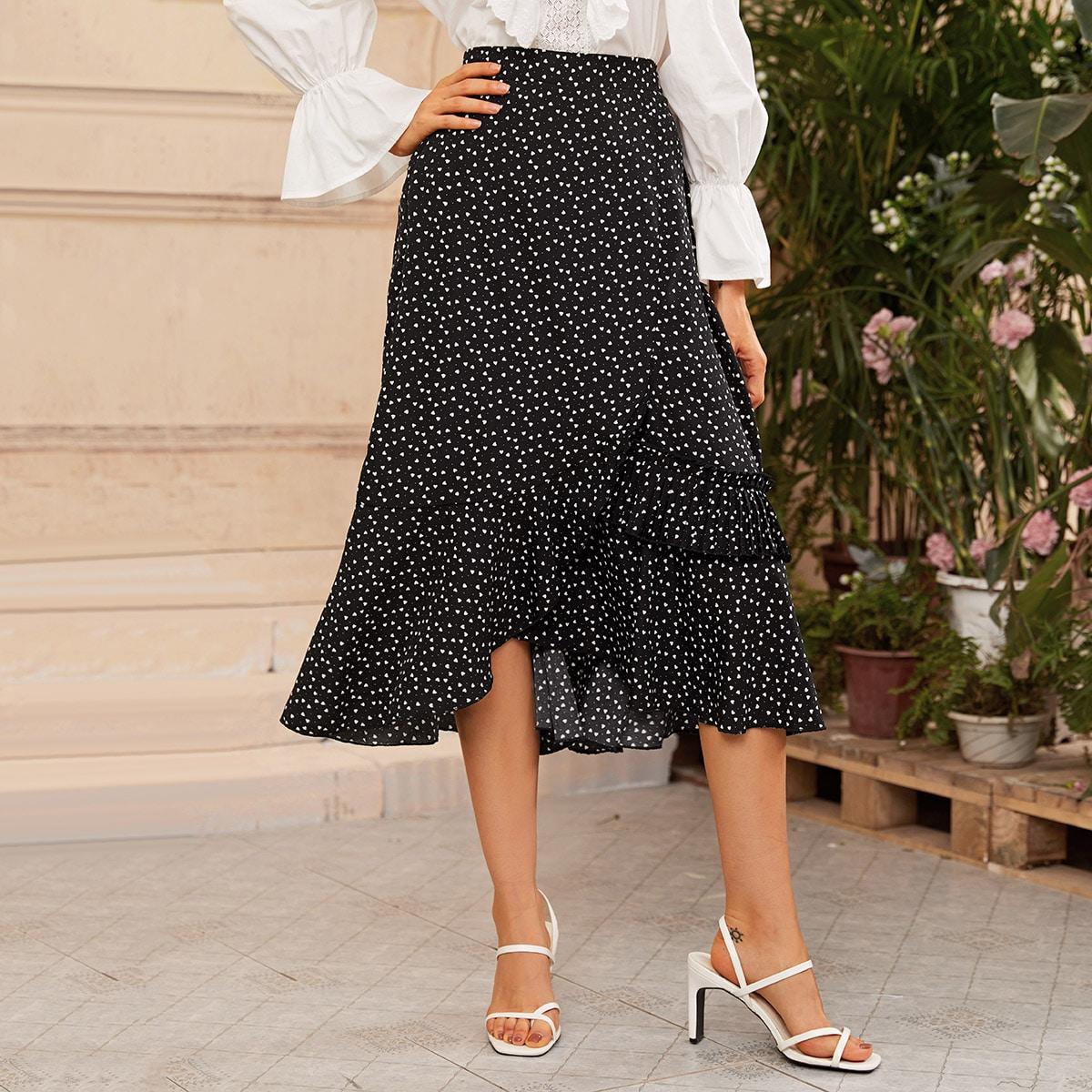 Асимметричная юбка с сердечным принтом