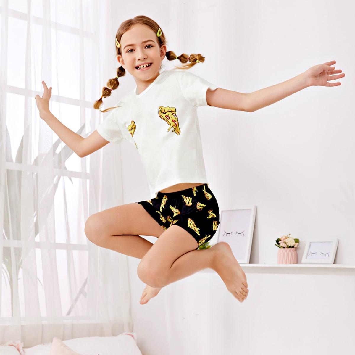 Пижама с принтом пиццы для девочек фото