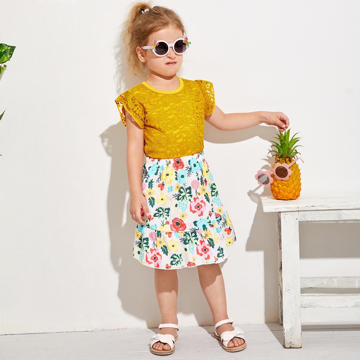 Кружевной топ и юбка с цветочным принтом для девочек фото