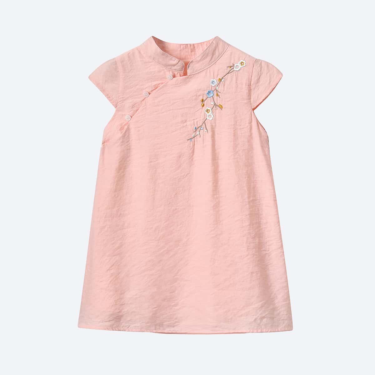 Платье с цветочной вышивкой для девочек фото