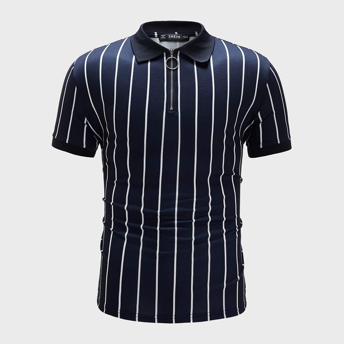 Мужская полосатая рубашка-поло на молнии фото