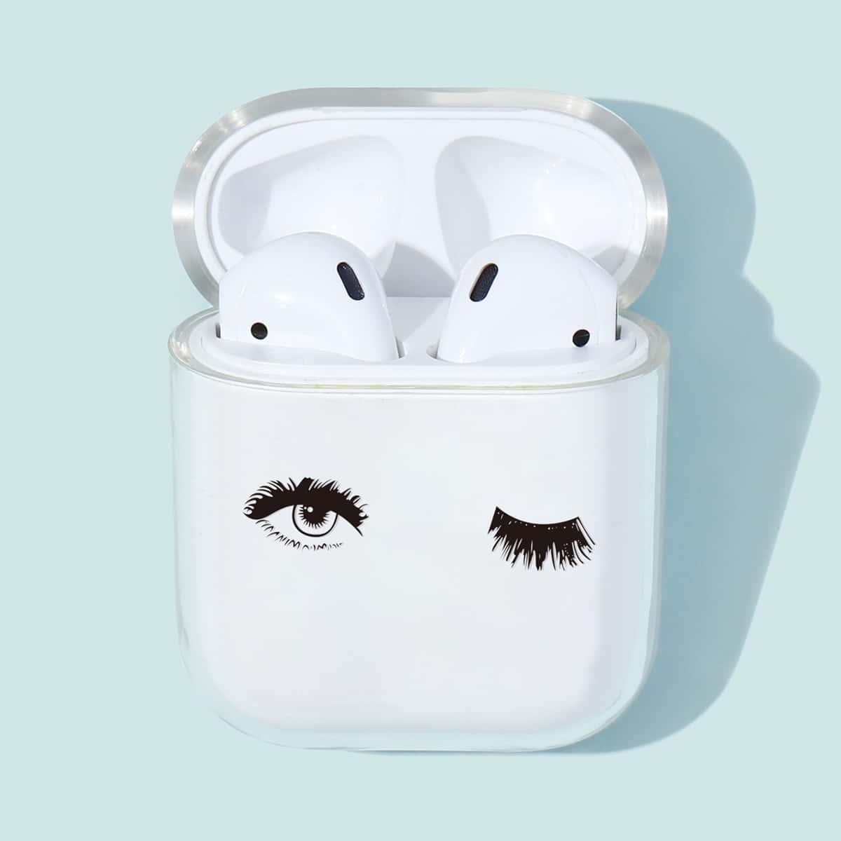 SHEIN / 1 Stück Transparente Airpods Hülle mit Augen Muster