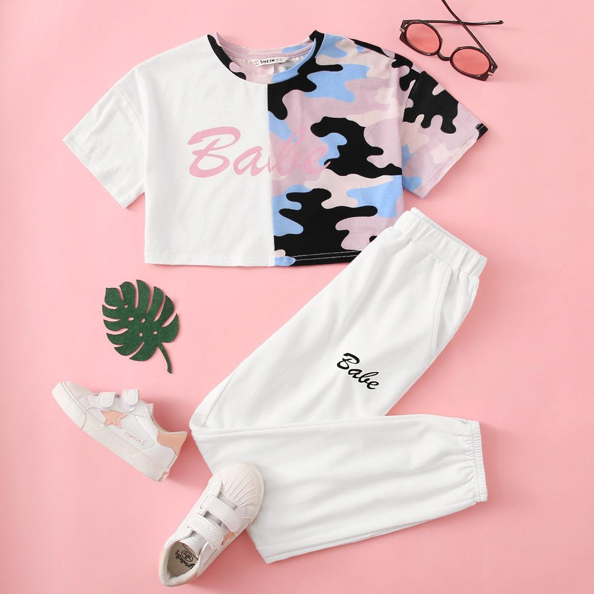 Камуфляжный топ с текстовым принтом и спортивные брюки для девочек от SHEIN