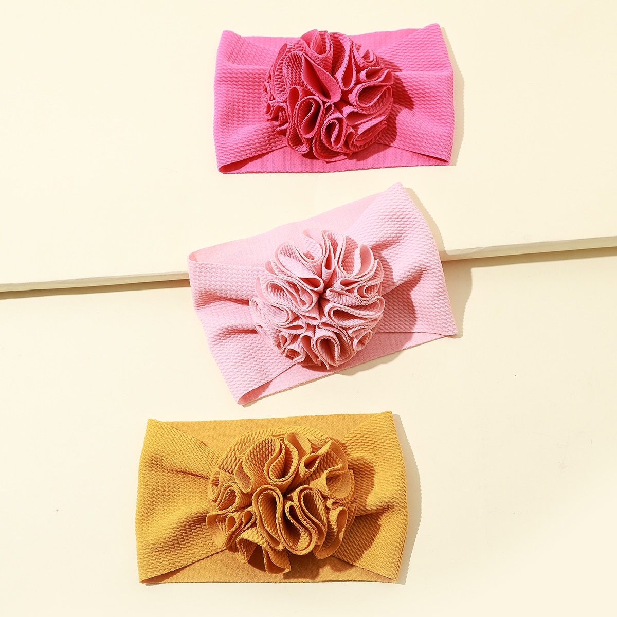 Повязка для волос с цветочным декором 3шт фото