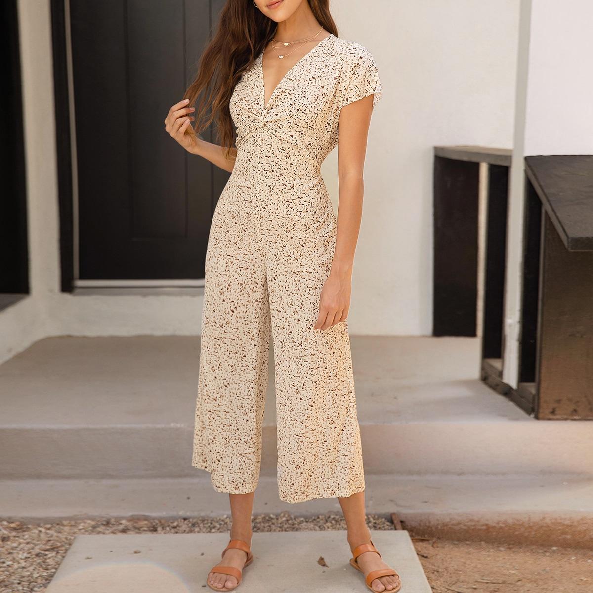 SHEIN / Culotte Jumpsuit mit Twist vorn und überallem Muster