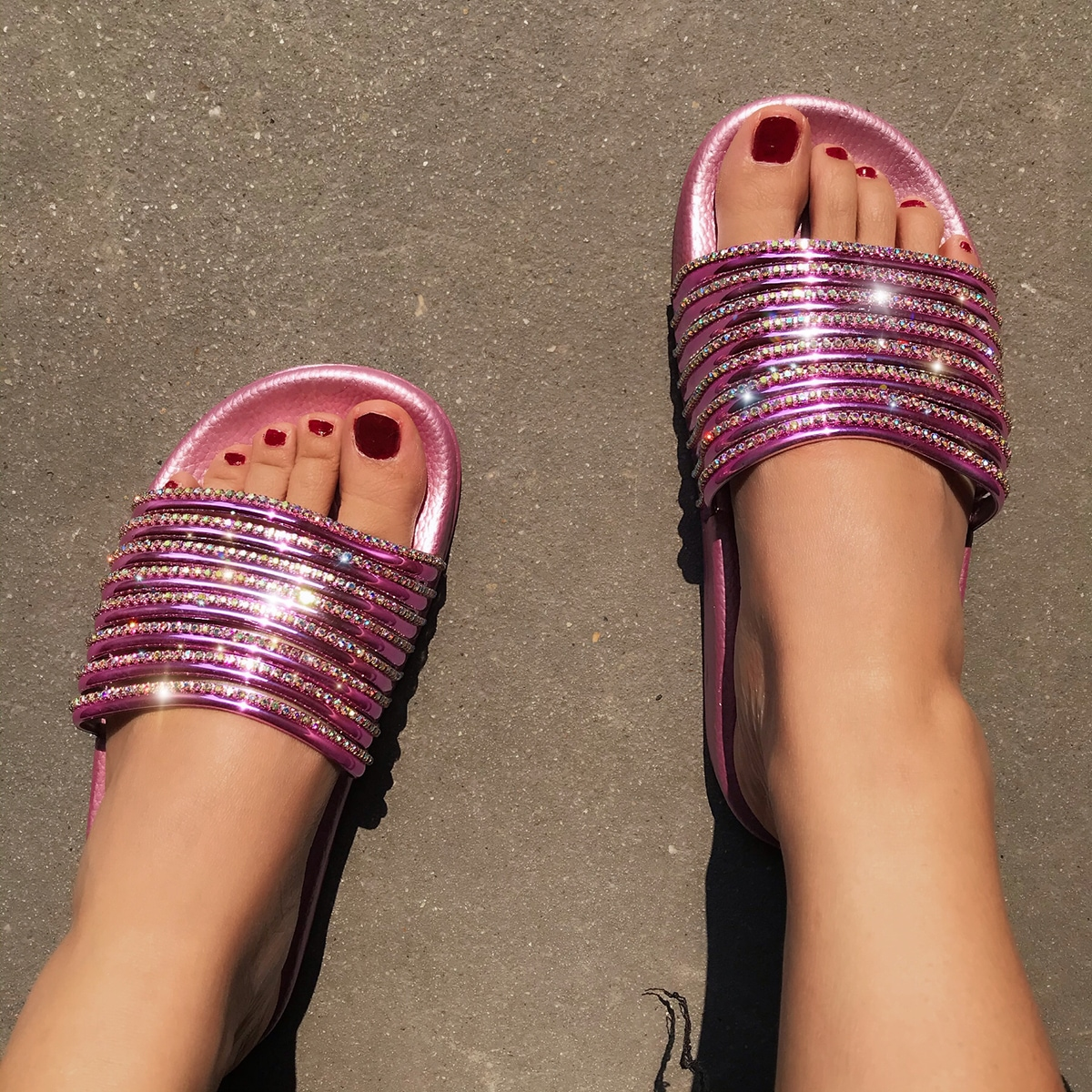 SHEIN / Rhinestone Decor Slide Sandals