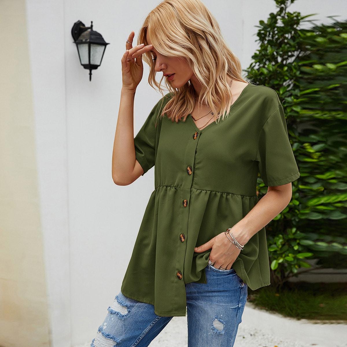 Блуза с v-образным вырезом и пуговицами фото