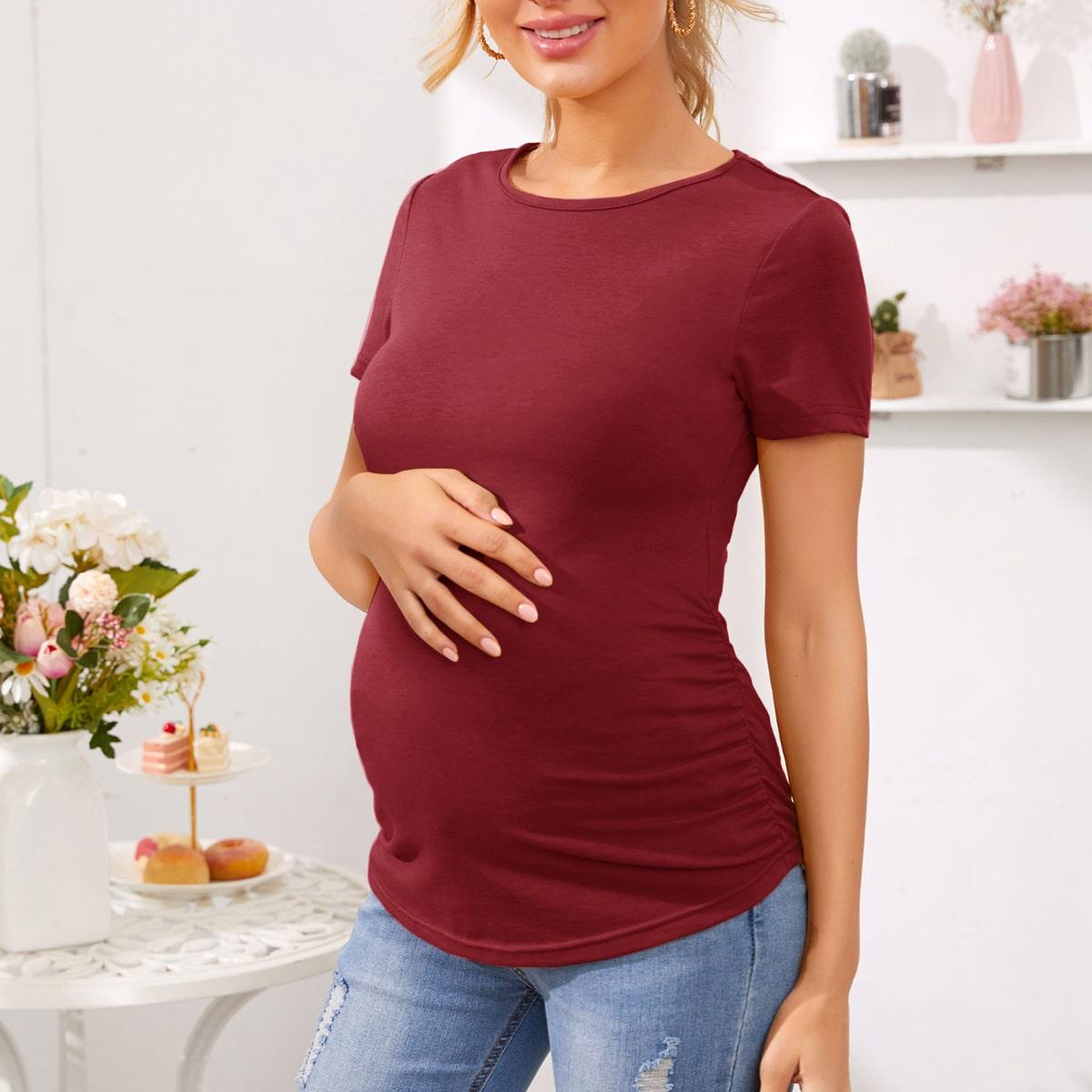 Облегающая футболка со складкой для беременных от SHEIN