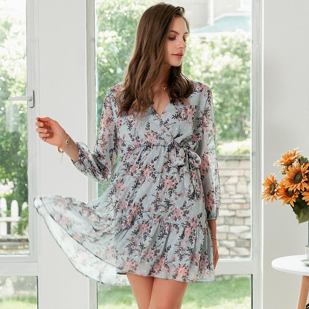 Simplee цветочное платье с оборками, узлом и v-образным вырезом фото