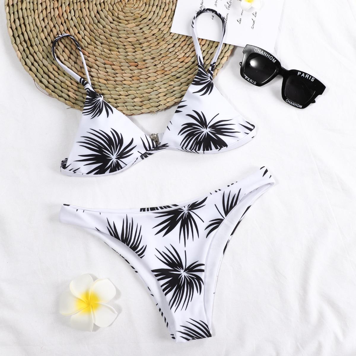 SHEIN / Bañador bikini bragas triángulo con estampado de hoja