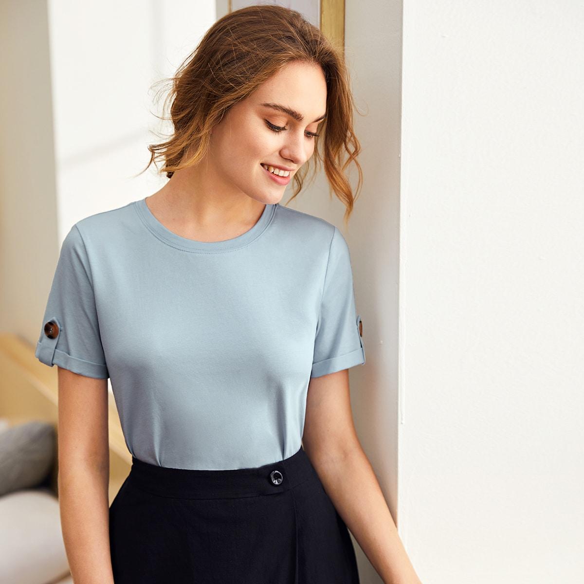 Duister blauw Casual Vlak T-shirt Knoop
