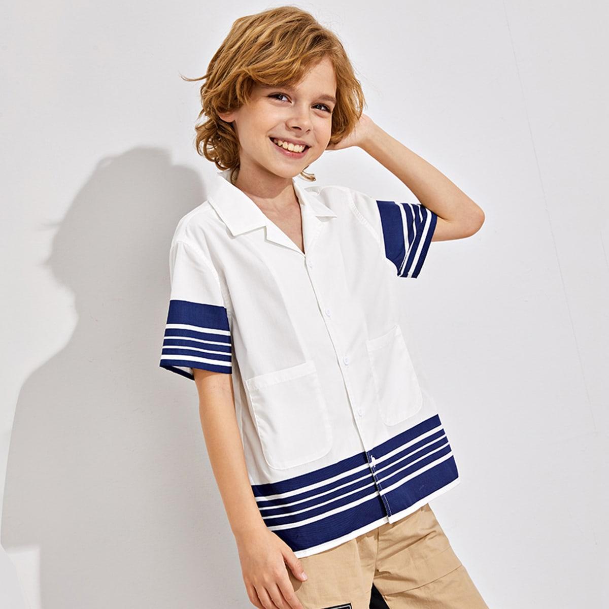 Рубашка в полоску с карманом для мальчиков от SHEIN