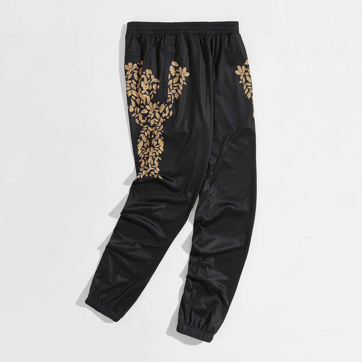 Мужские спортивные брюки с лиственным принтом