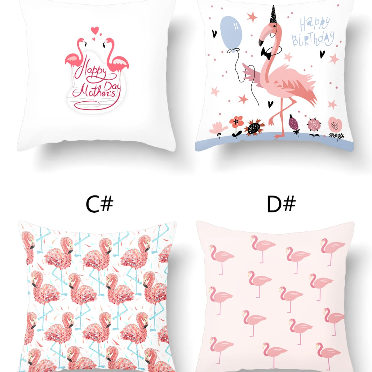 1шт Чехол на подушку с принтом фламинго без наполнителя фото
