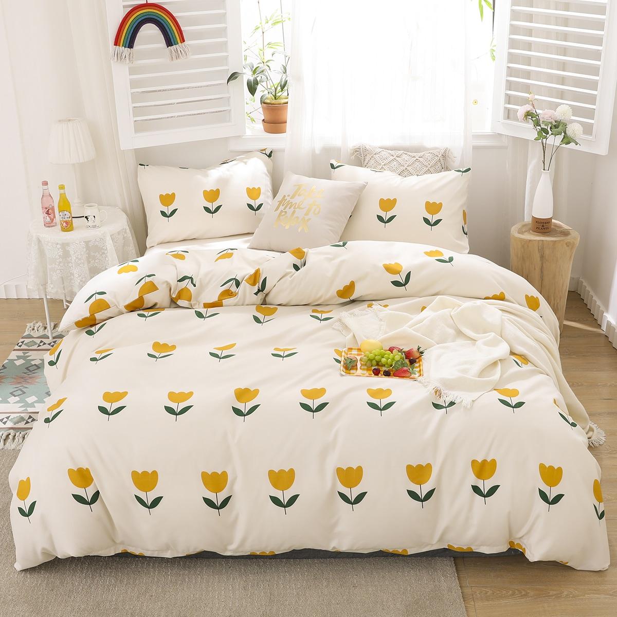 Комплект постельного белья с цветочным принтом без наполнителя фото