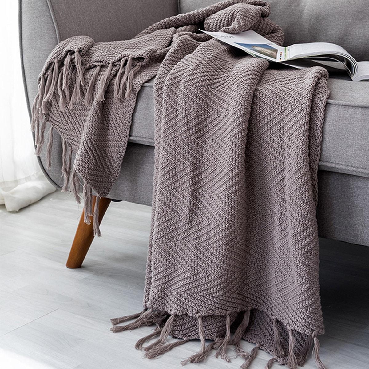 Solid Tassel Blanket