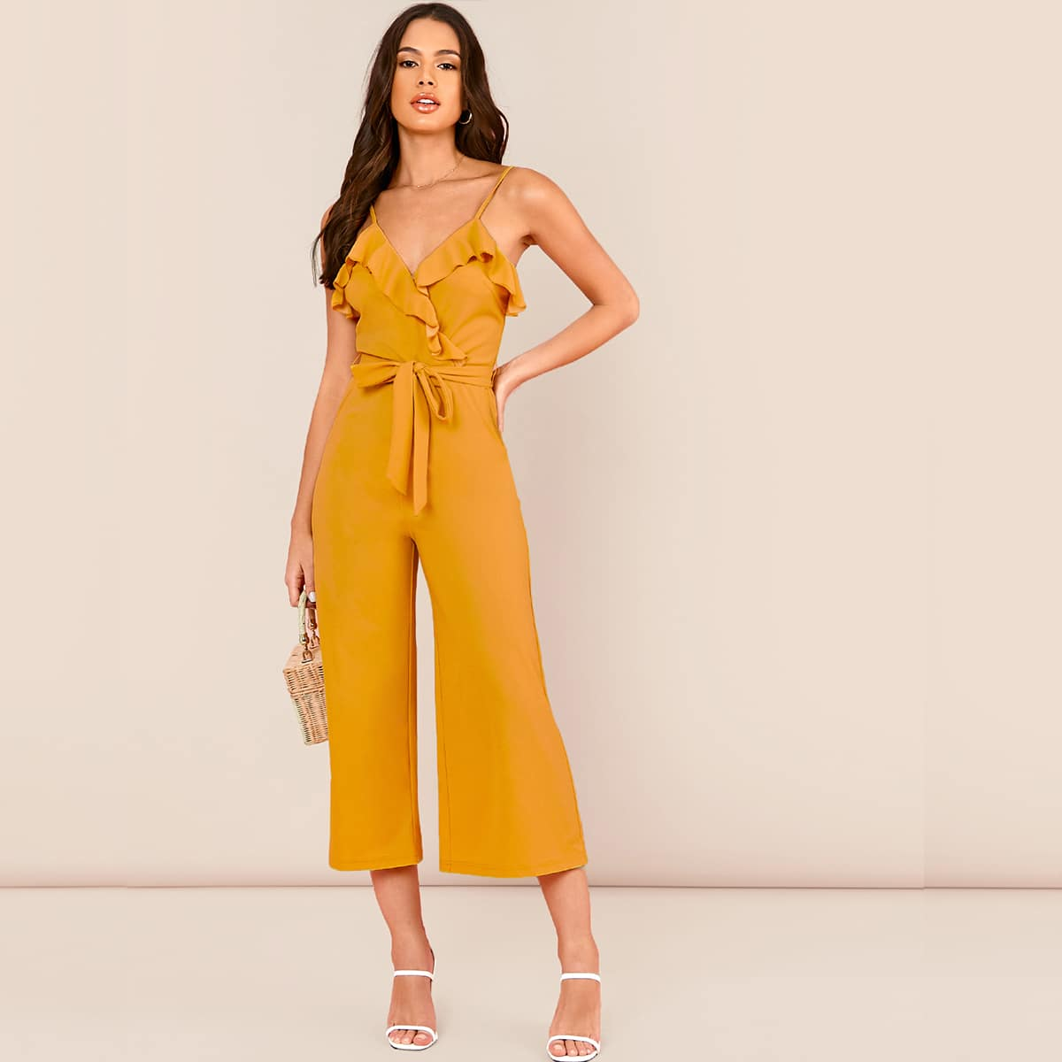 SHEIN / Mono culotte slip con cinturón con diseño de fruncido