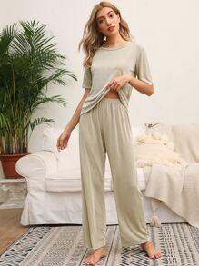 Pajama   Round   Solid   Neck   Pant   Tee   Set
