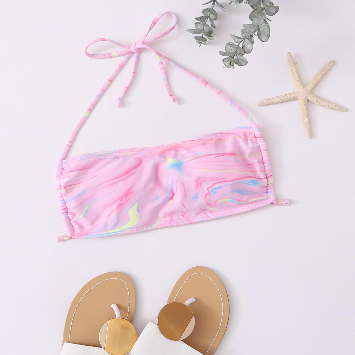 shein Roze  Sexy Grafisch Bikini top Tie Terug