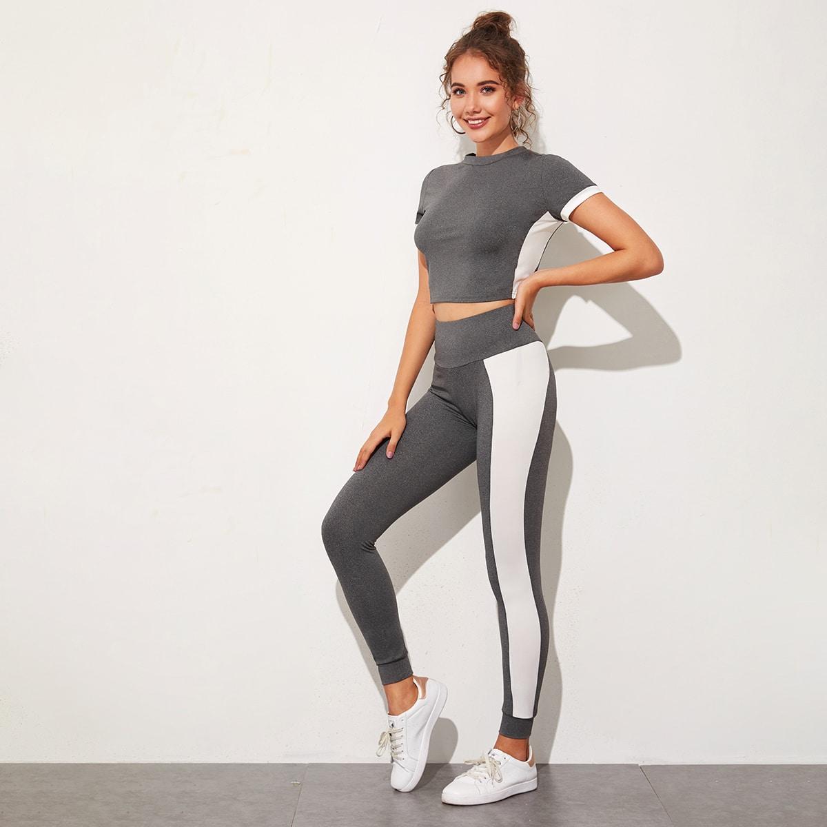 SHEIN / Two Tone Crop Top & Contrast Sideseam Leggings Set