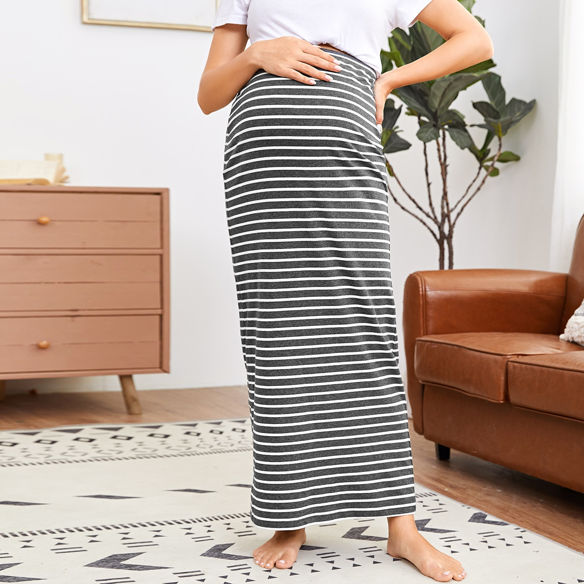 SHEIN / Maternity Maxi Rock mit Streifen
