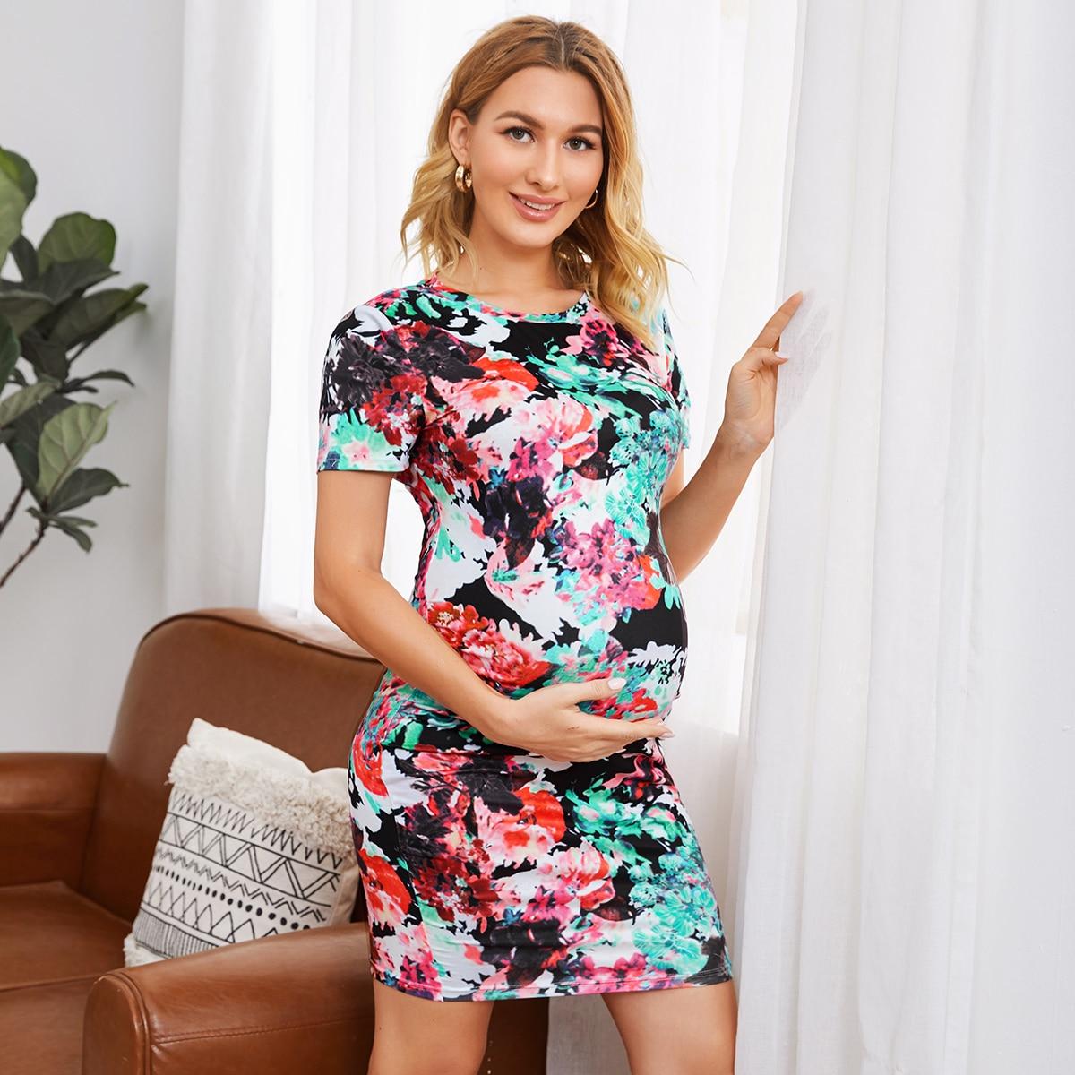 Разноцветное платье для беременных
