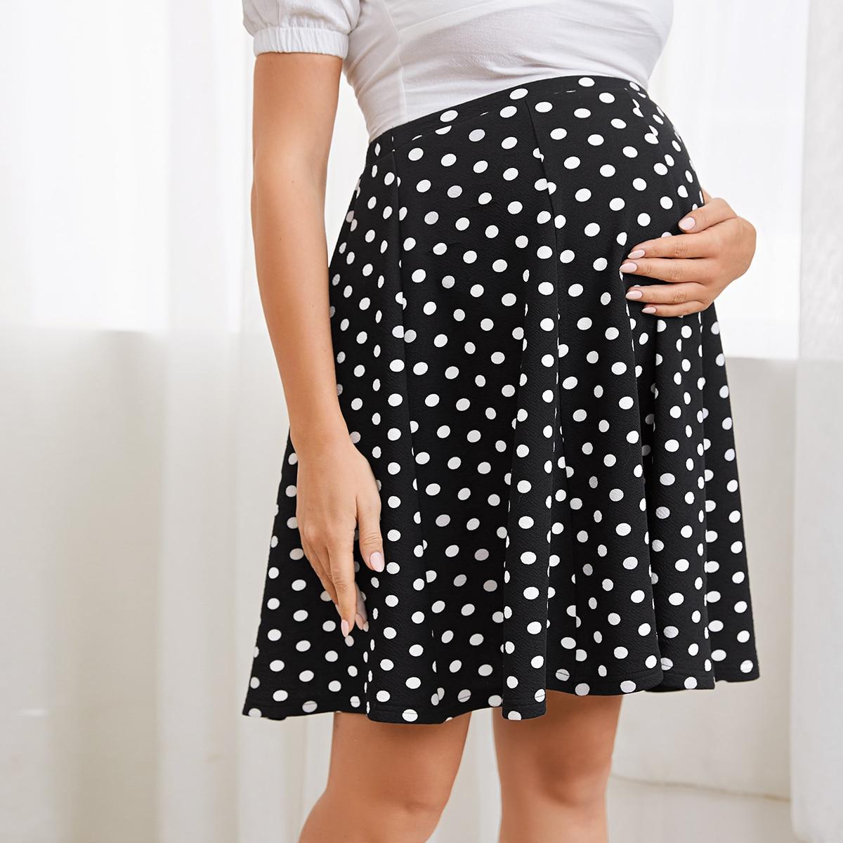Расклешенная юбка в горошек для беременных фото
