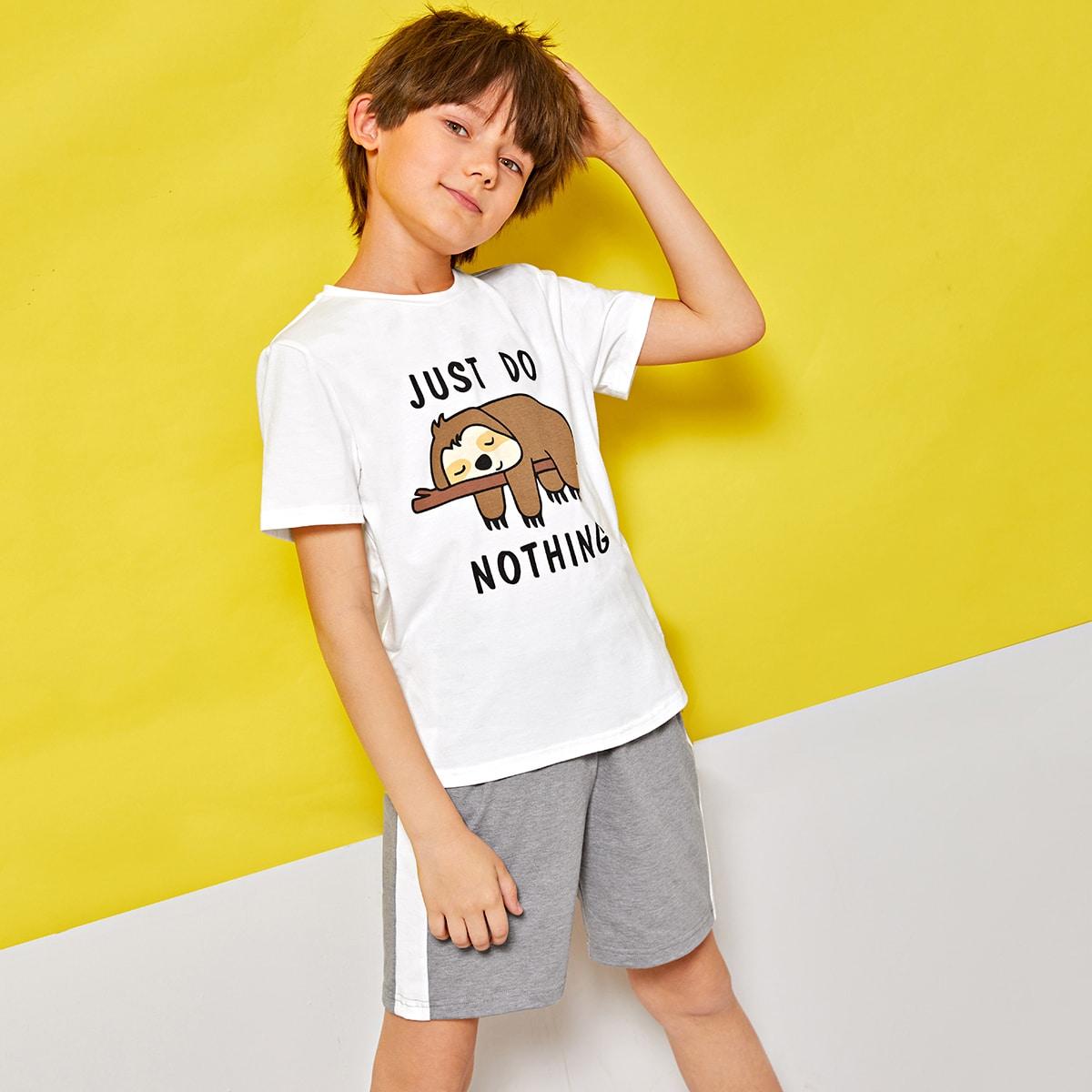 Пижама для мальчиков с оригинальным принтом и полосками от SHEIN