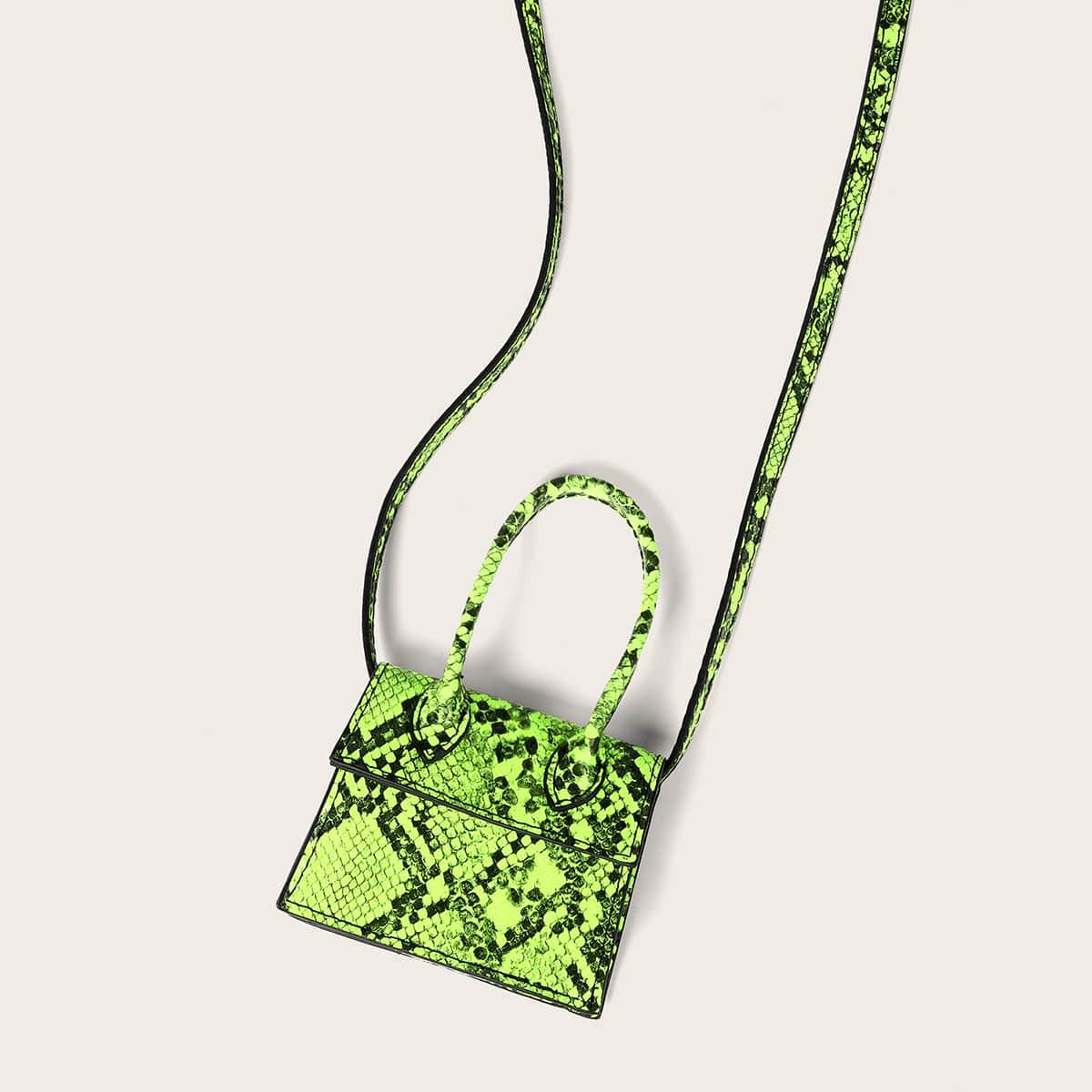 SHEIN / Mini Neon Lime Snakeskin Print Satchel Bag