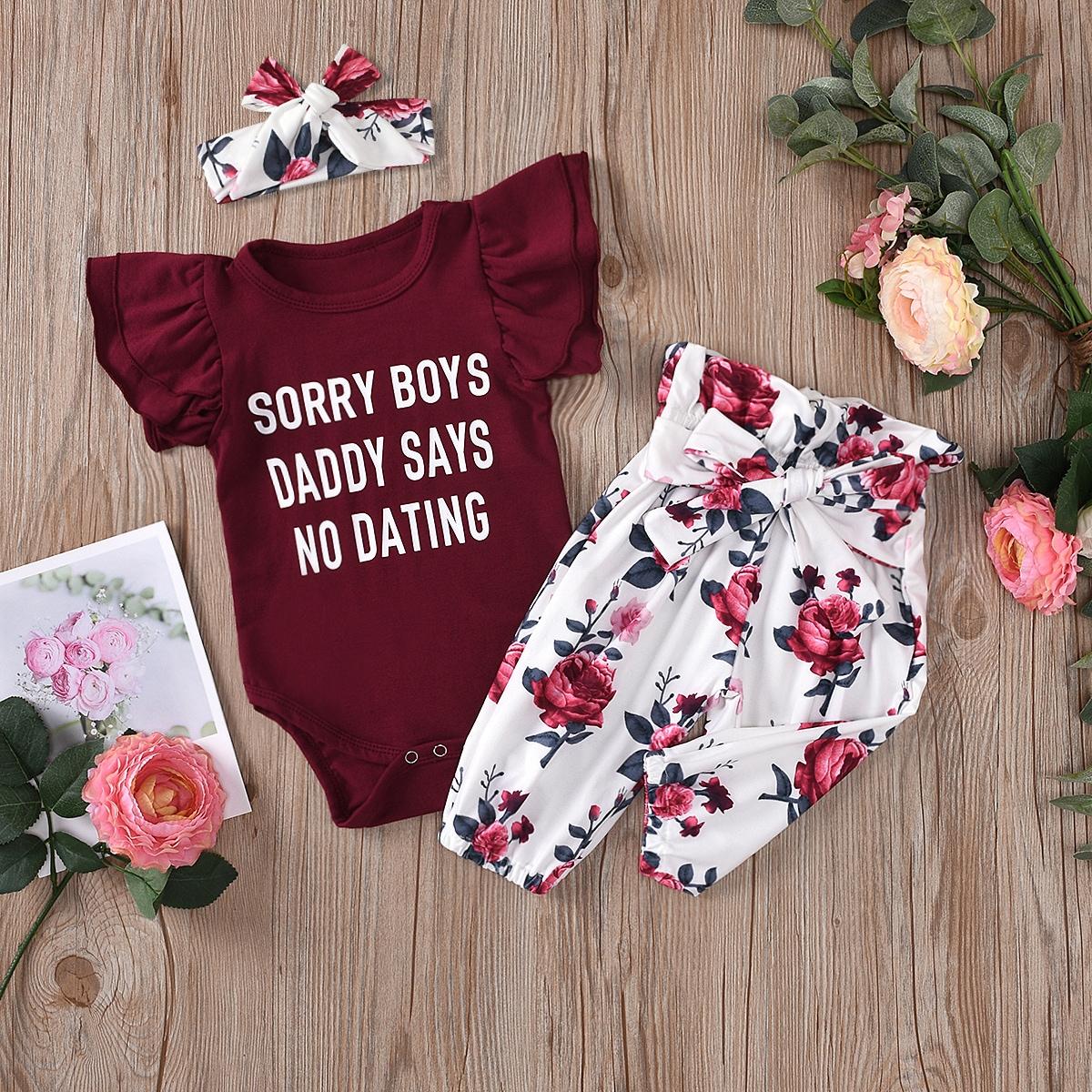 Боди с текстовым принтом и брюки с цветочным принтом для девочек фото