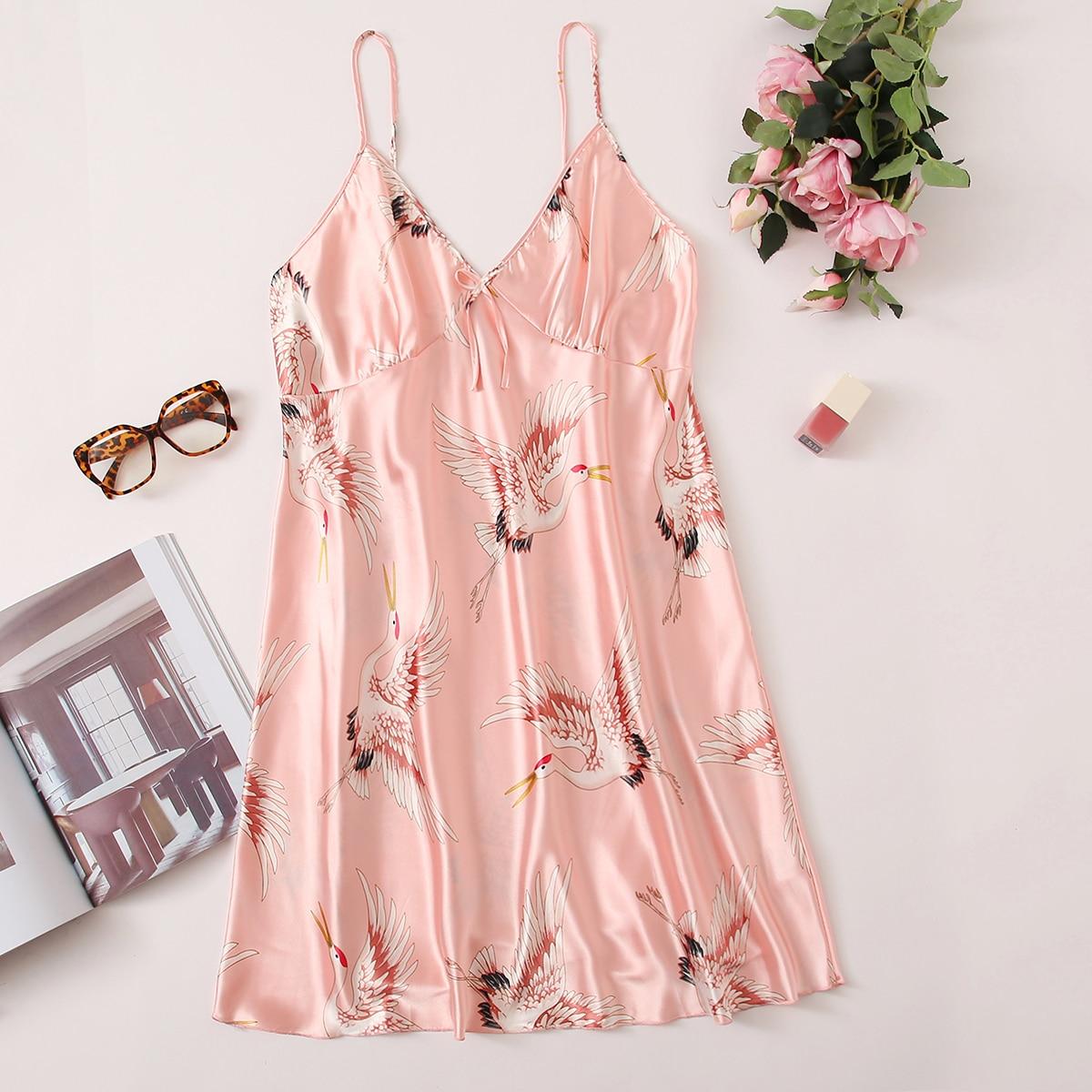 Нежний Розовый с бантом Животный принт Элегантный Ночная рубашка размер плюс