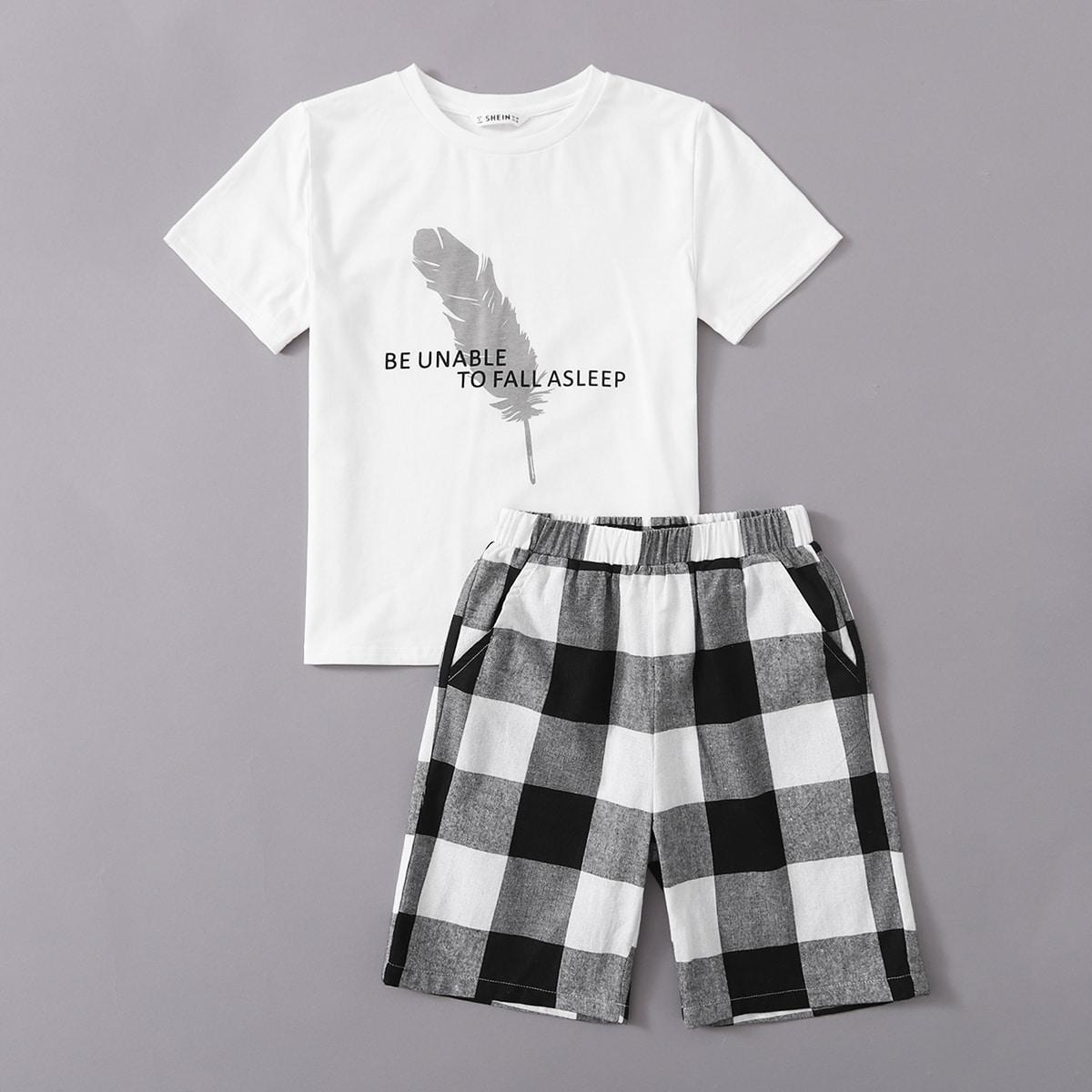 Пижама в клетку с оригинальным принтом для мальчиков от SHEIN
