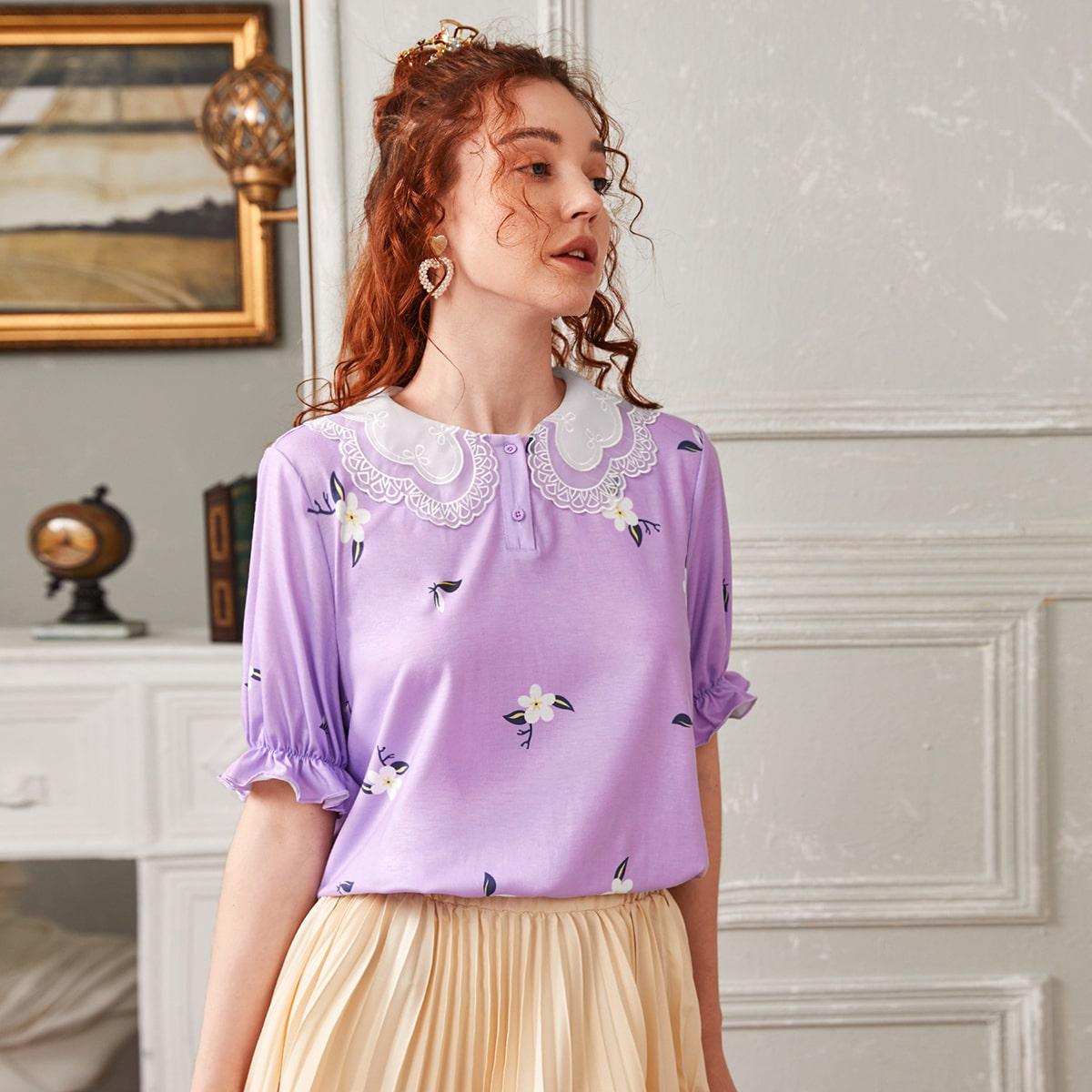 Рубашка-поло с сетчатым вырезом и вышивкой фото