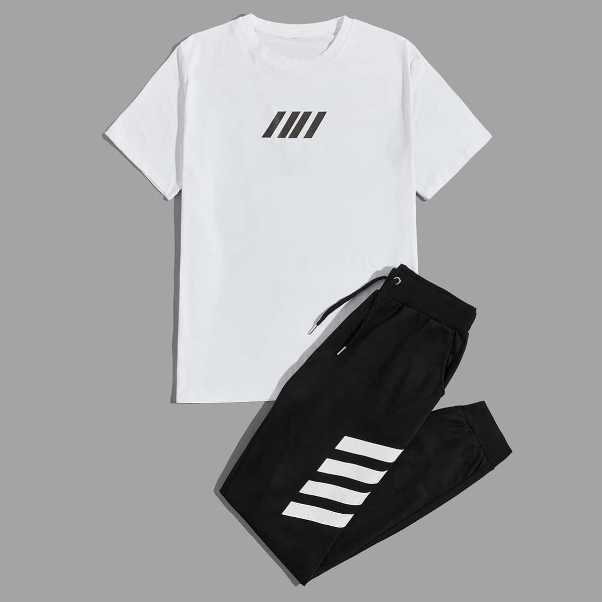 Мужская футболка с геометрическим принтом и спортивные брюки на кулиске от SHEIN
