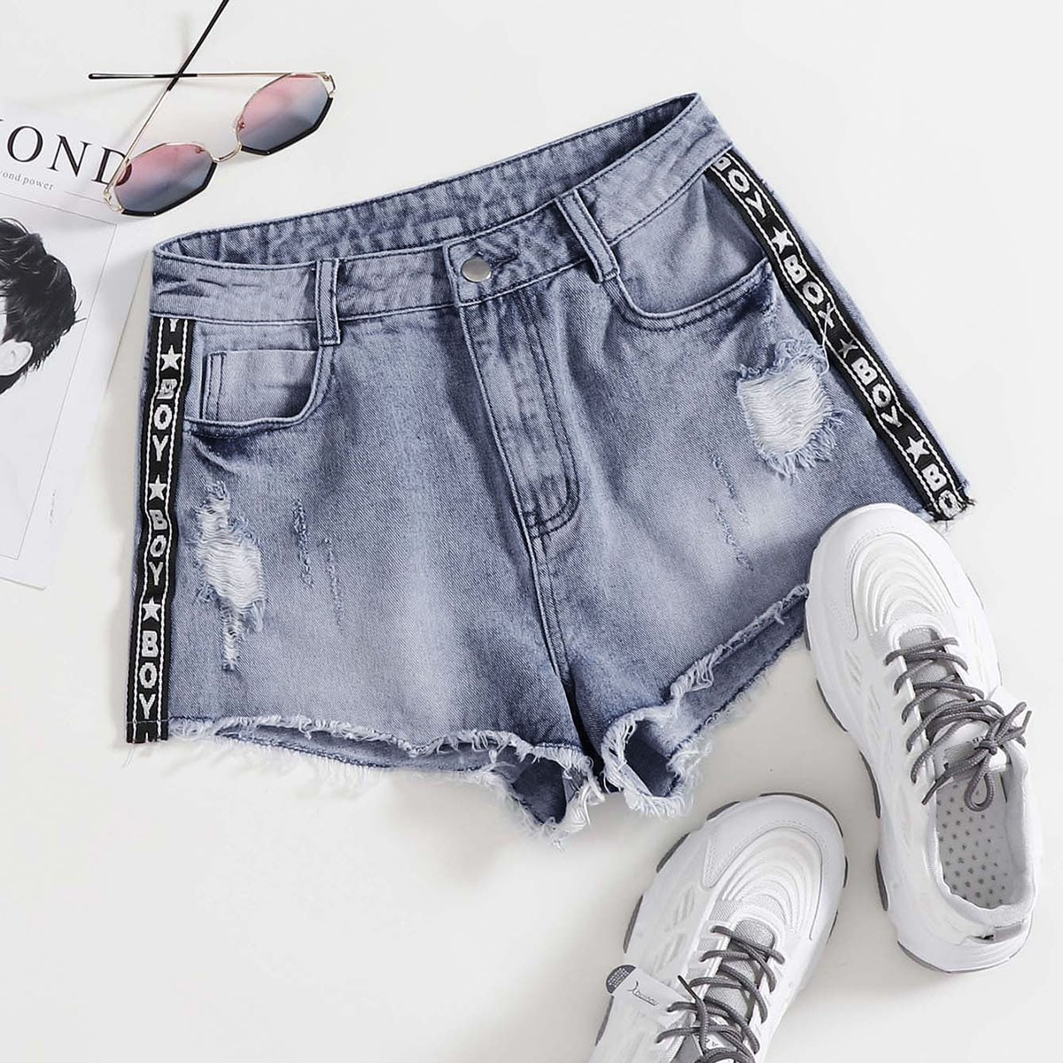 shein Medium gebleekt Casual Tekst Denim shorts Knoop