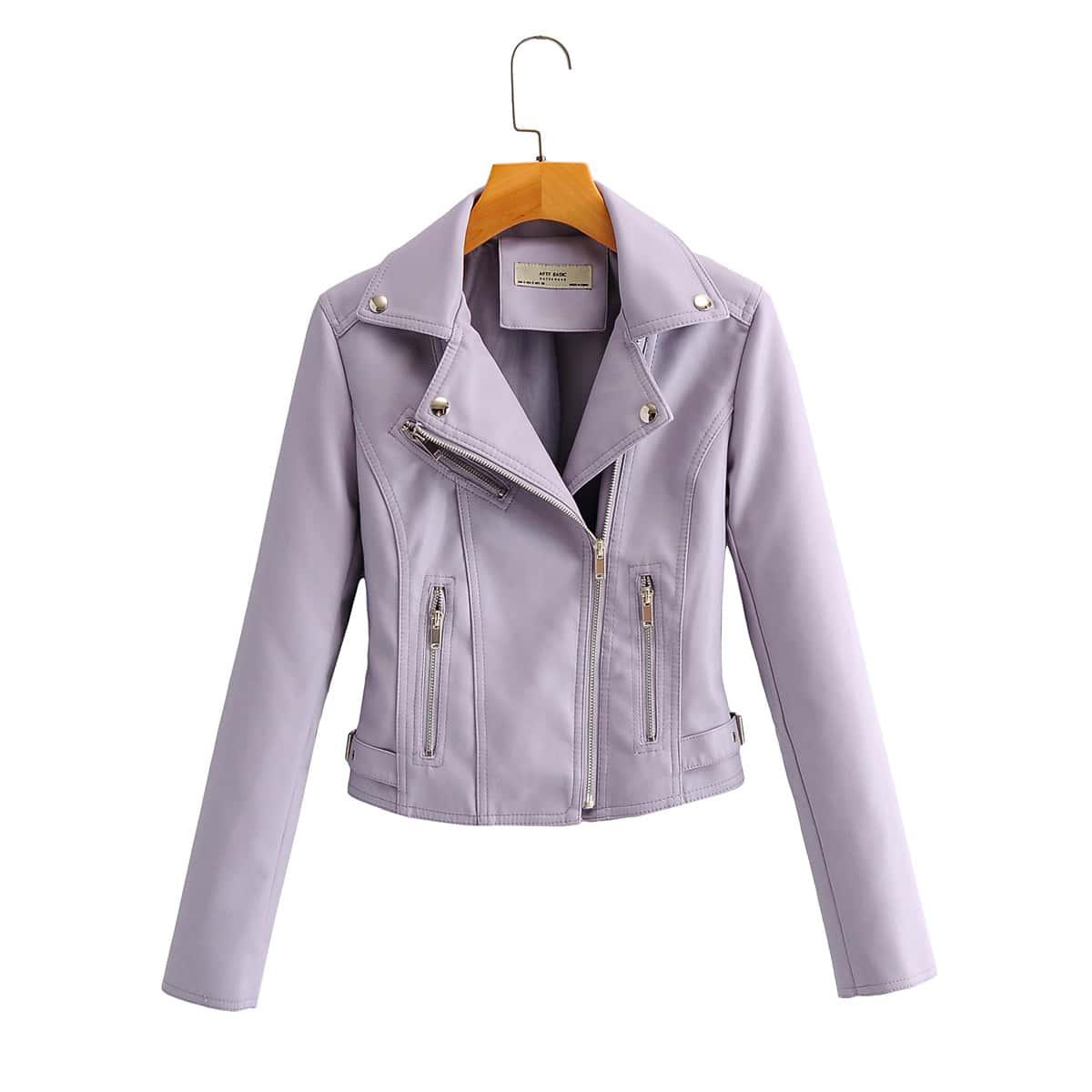 Куртка из искусственной кожи на молнии с воротником-лацканом