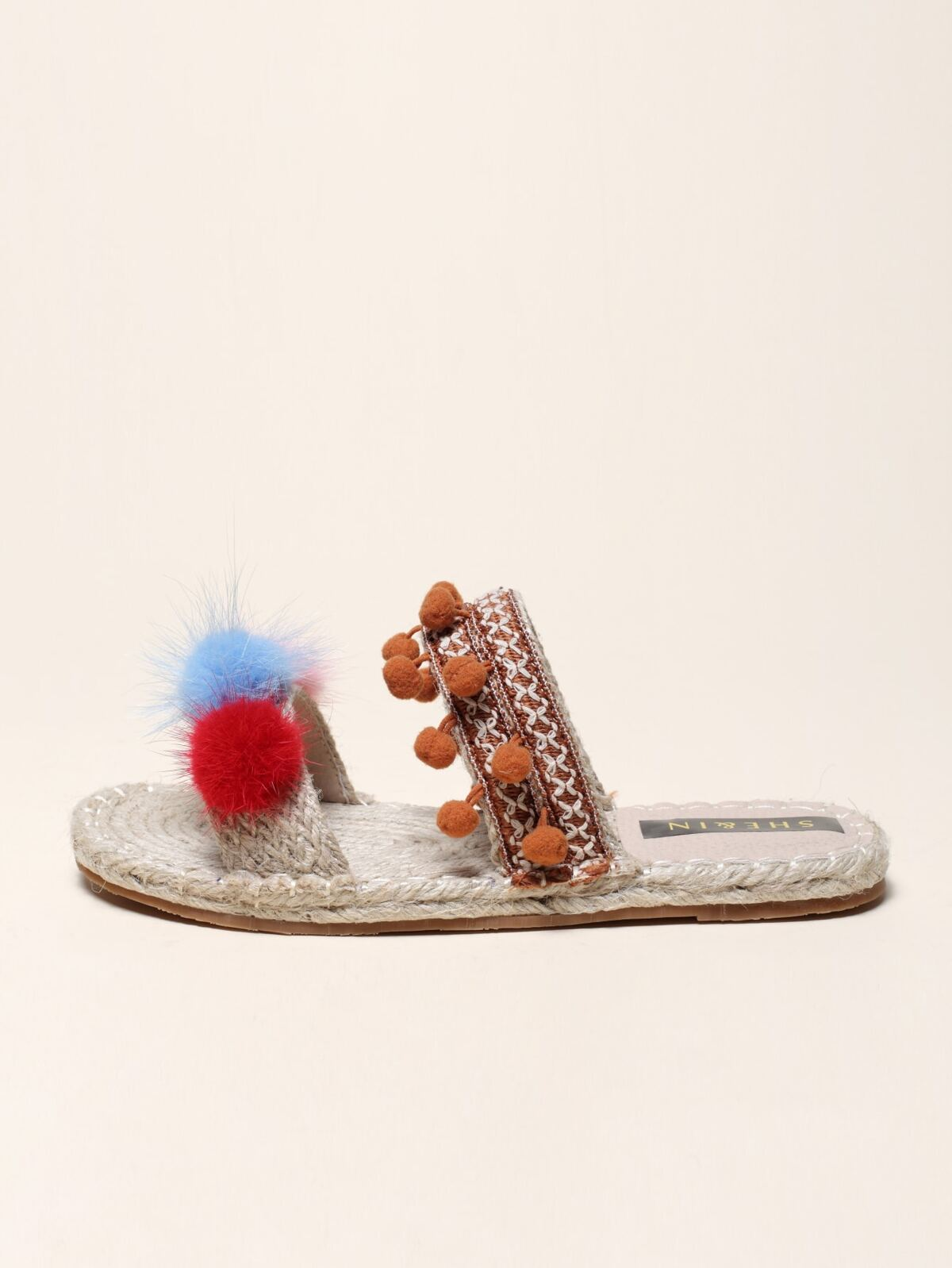 Pom-pom Decor Slide Sandals