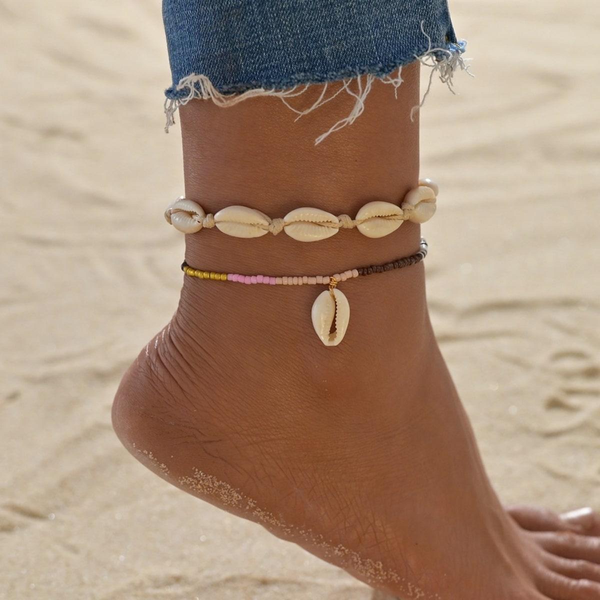 SHEIN / 2 Stücke Fußkette mit Muschel