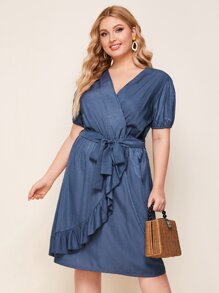 Ruffle | Denim | Dress | Wrap | Belt | Plus | Size
