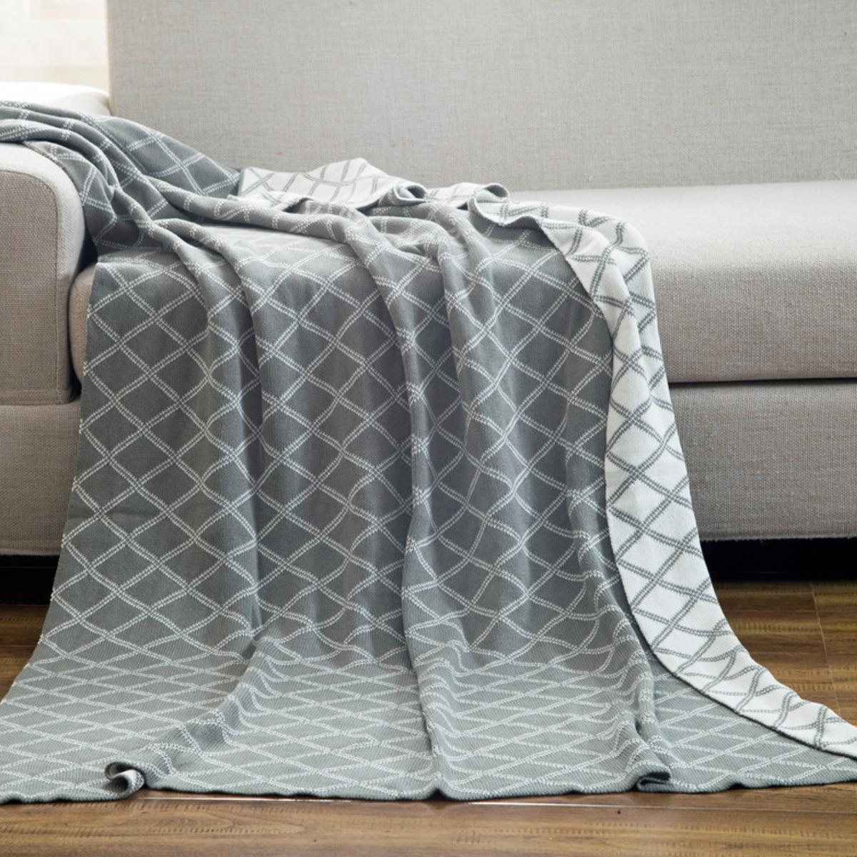 Вязаное одеяло с геометрическим узором 1шт фото