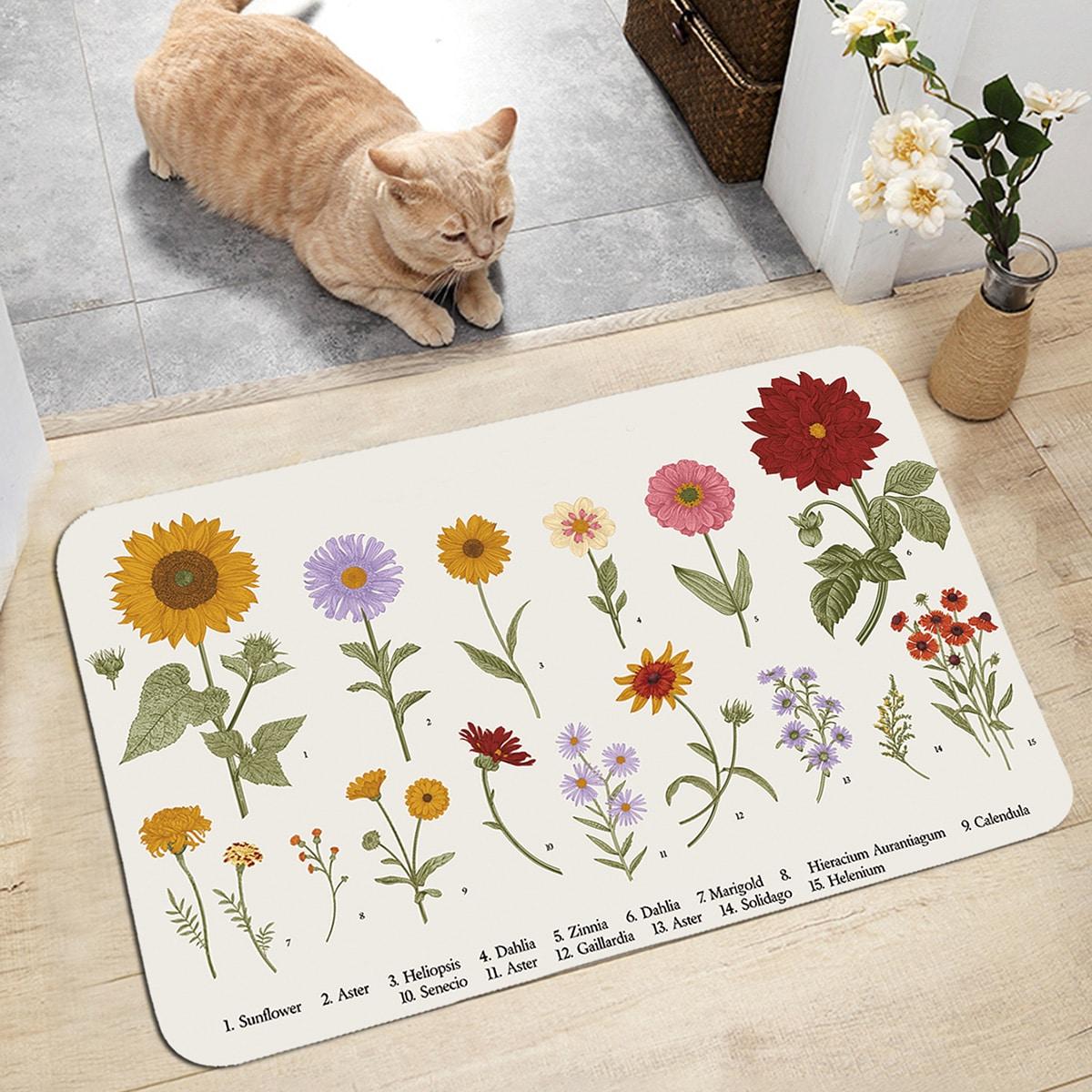 Напольный коврик с цветочным принтом фото